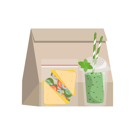 mayonnaise: The concept of a healthy lifestyle, losing weight, lose weight. Vector. Lunchbox with healthy food.