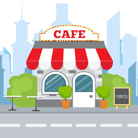Colorful cafe isometric restaurant building. Cartoon vector icon. Flat isometric design. Illustration