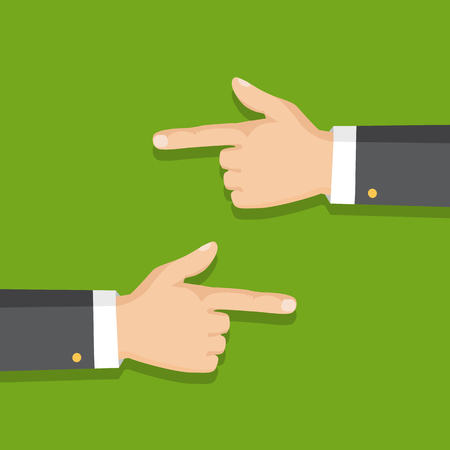 Hand with pointing finger left and right side. Flat style. Vector illustration