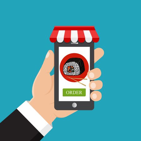 Order food online. Vector illustration. Hand holding smartphone with sushi on the screen.  イラスト・ベクター素材