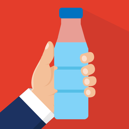 Hands holding bottle with water. Vector Illustration.