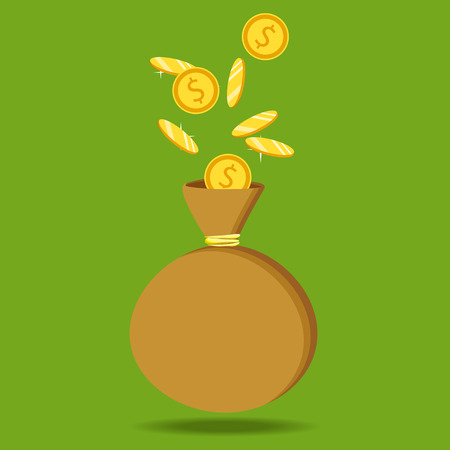 business graphics: Flat icon, vector illustration. Money saving and money bag concept. Money making. Bank deposit. Financials. Isolated on a background. Illustration
