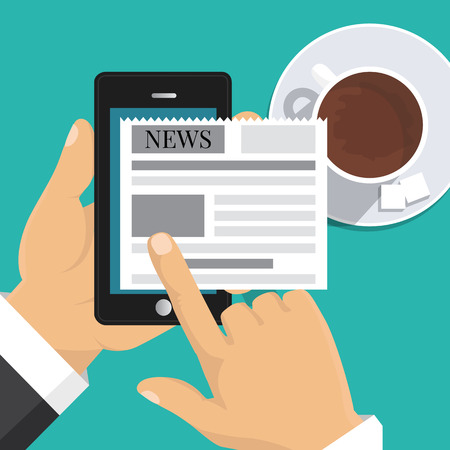 touch screen phone: Flat design. Vector illustration. Reading news on screen of smartphone. Hand holding mobile phone with newspaper. Illustration