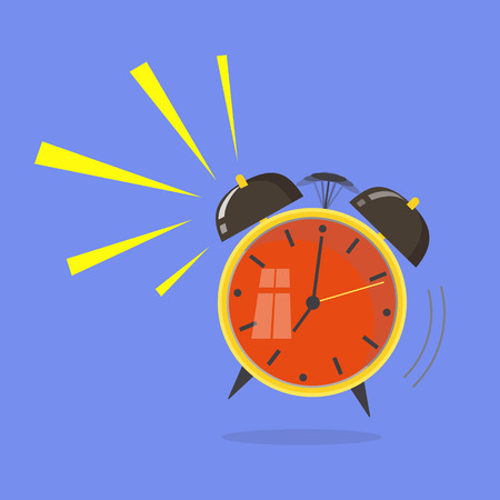Flat design. Vector icon isolated on background. Cartoon alarm clock ringing. Wake up morning concept.