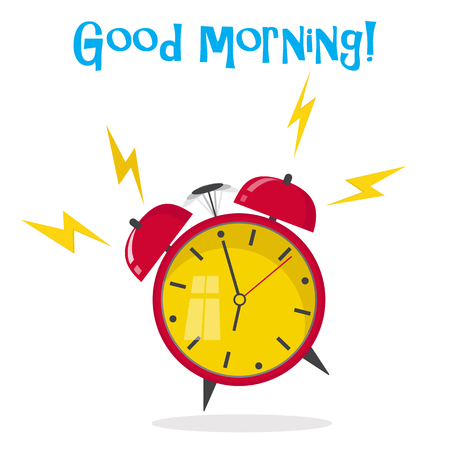 Flat design. Vector icon isolated on background. Cartoon alarm clock ringing. Wake up morning concept. Zdjęcie Seryjne - 83428279