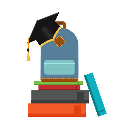Graduate in a hat, books, certificate. Vector illustration. Education icon.