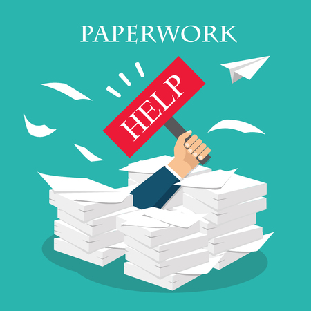 Busy time, stress at work concept. Vector. Overworked businessman under a paper pile, documents. Holding a HELP placard.