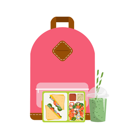 The concept of a healthy lifestyle, losing weight, lose weight. Vector. Lunchbox with healthy food. Vektoros illusztráció