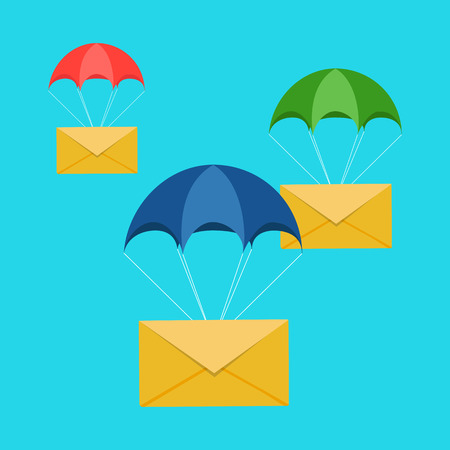 airmail stamp: Airmail delivery icon. Envelope shipping parachute. Fast correspondence. Vector illustration