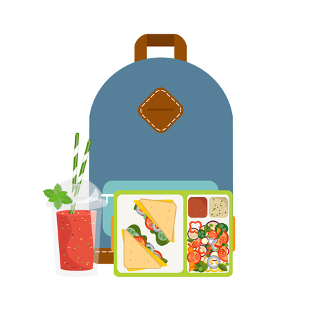 cartoon tomato: The concept of a healthy lifestyle, losing weight, lose weight. Vector. Lunchbox with healthy food.