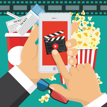 Smartphone application. Vector illustration. On line order of cinema tickets.