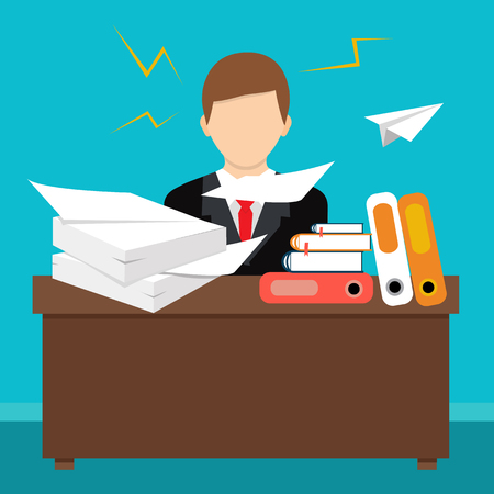Busy cluttered office table. Hard work. Office interior. Flat style vector illustration.