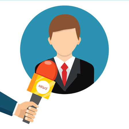 politicians: Live report, live news concept. Vector illustration. Businessman gives a reporter interview. Press conference. Illustration