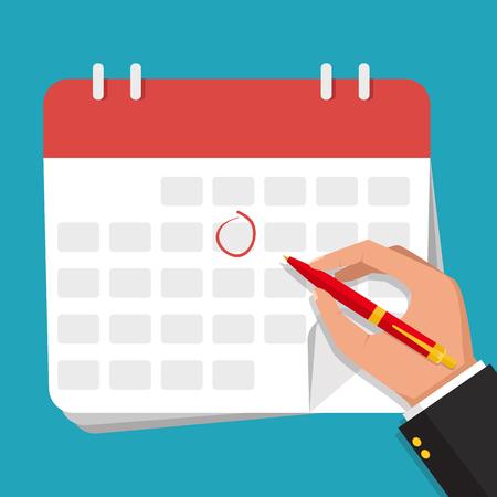 Calendario Vector.Businessman Hand With Pen Marks On The Calendar Vector Flat