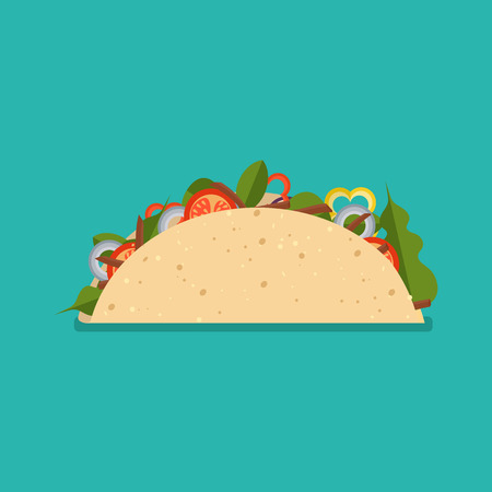 Taco mexican food isolated on background. Taco fast food, icon. Vector illustration flat style.