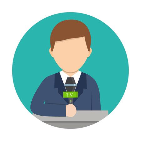 Correspondent with microphone, news reporter. Cartoon vector illustration. Breaking news concept