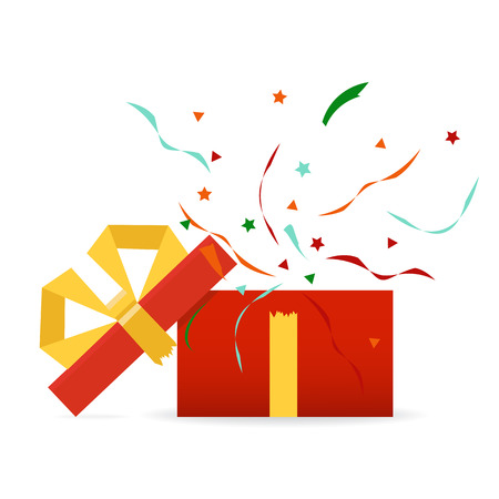 Vector illustration. Opened gift box, surprise, birthday, holiday concept. Vectores
