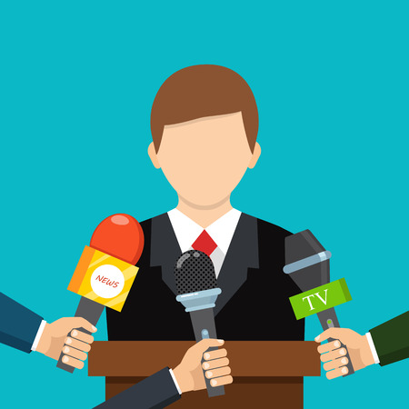 Live report, live news concept. Vector illustration. Businessman gives a reporter interview. Press conference. Çizim