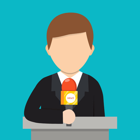 Correspondent with microphone, news reporter. Cartoon vector illustration. Breaking news concept