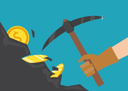 Das Konzept von Geld, Einkommen, Erfolg. Vektor-Illustration. Die Hand eines Geschäftsmannes taucht einen Felsen ein und sucht nach einem Schatz.