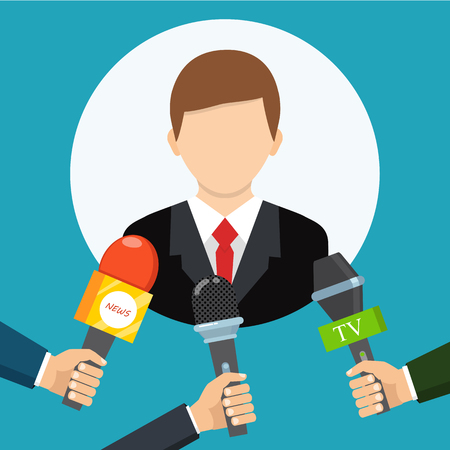 Live report, live news concept. Vector illustration. Businessman gives a reporter interview. Press conference. Illustration