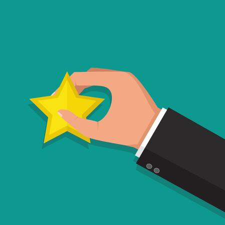 Handen met een rating ster. Feedback concept. Vector illustratie
