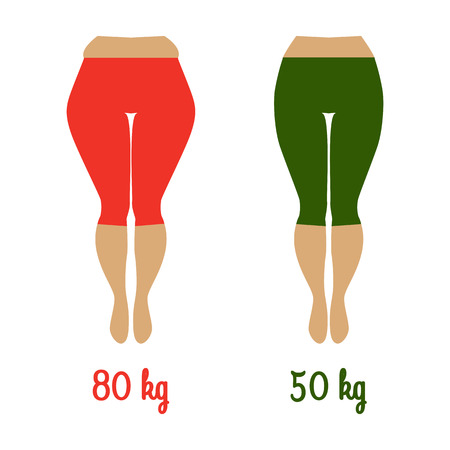 Illustration of a woman with cellulite and smooth skin. Weight loss concept. Fat and slim womans hip. Illustration