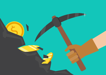 the miners: The concept of money, earnings, success. Vector illustration. The hand of a businessman dips a rock, searching for a treasure.
