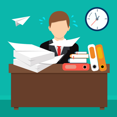 overload: Busy cluttered office table. Hard work. Office interior. Flat style vector illustration.