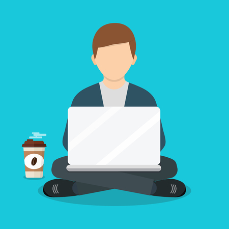 Freelancer werkt. Vectorillustratie van een plat ontwerp. Freelance man aan het werk met laptop op fauteuil. Freelance baan. Plat ontwerp. Vector Illustratie