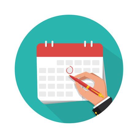 Businessman hand with pen marks on the calendar. Vector flat illustration Illustration