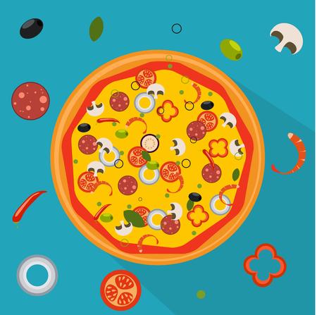 Ejemplo del vector Pizza aislada, ingredientes tradicionales para la pizza. Foto de archivo - 87345605