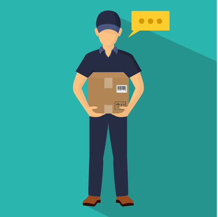 Service of fast delivery. Express delivery courier service. Man courier with box in his hands. Vector illutration