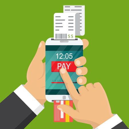 technology transaction: Vector illustration. Mobile payment concept. Hand holding a phone. Smartphone wireless money transfer. Flat design. Illustration