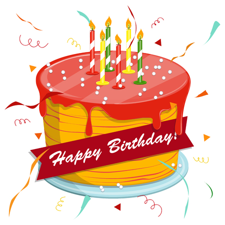candle: Cute cartoon happy birthday cake with candles. Blackboard with a congratulation. Festive hat. Vector illustration