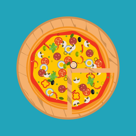Isolated pizza, traditional ingredients for the pizza. Vector Illustration.