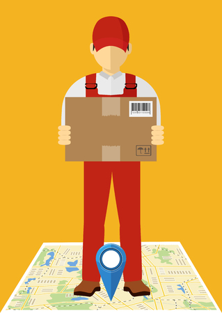 Vector icon, isometric man, delivery concept. Man and parcel, isolated design.