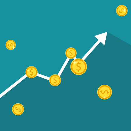 Finance growth. Business graph with gold coins. Vector Illustration