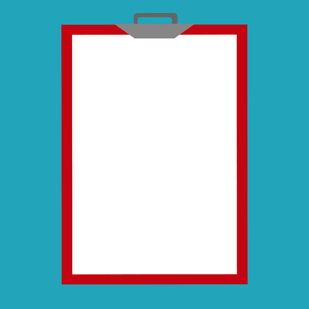education concept: Vector illustration isolated on background. Clipboard and white  blank sheet of paper.