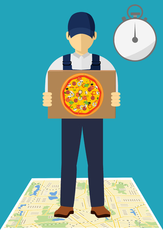 Delivery pizza banner. Flat vector style. Vector fast food delivery symbol.