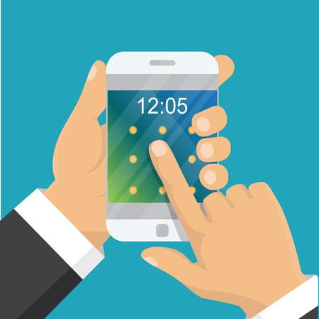 Hand holding phone illustration.