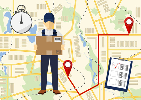 Delivery man and map illustration.