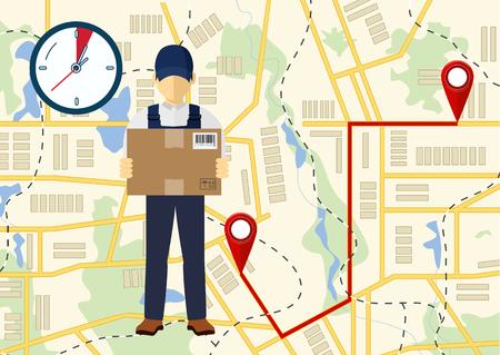 Uomo di consegna con scatole illustrazione. Archivio Fotografico - 88887375