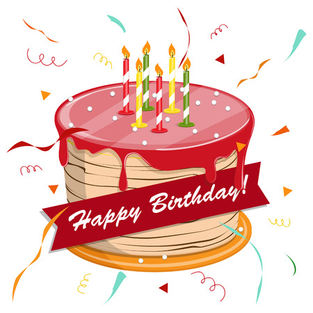 かわいい漫画幸せなバースデー ケーキをろうそく。  イラスト・ベクター素材