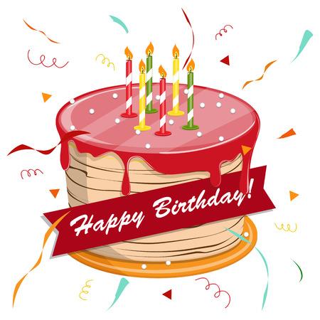 De leuke cake van de beeldverhaal gelukkige verjaardag met kaarsen. Stockfoto - 88887492