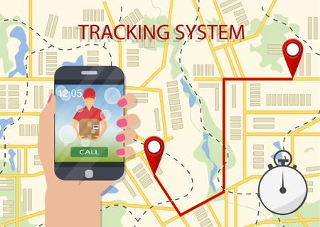 Hand holding a mobile phone with app of delivery tracking