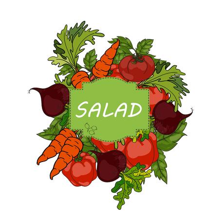 Salad with fresh vegetables Illustration