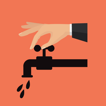 Turn off the water with man's hand
