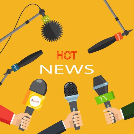 Hot news mass media concept Illustration