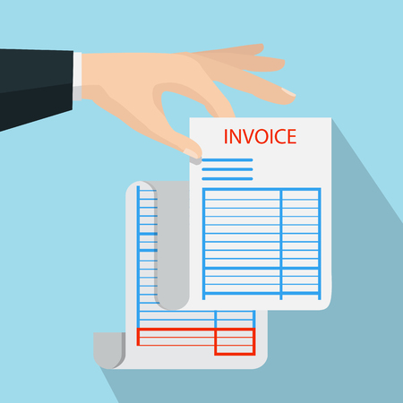 Hand holding blank of receipt. Vector illustration isolated on background
